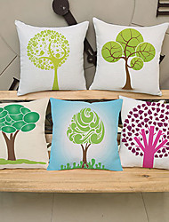 5 pcs Innovative series of small trees printing Linen Pillow CaseNovelty Modern/Contemporary