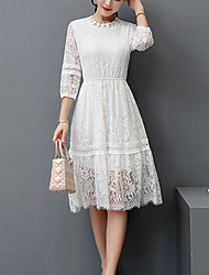 Women's Lace Going out Street chic A Line Dress,Solid Crew Neck Knee-length ¾ Sleeve Polyester White Black Spring Summer Mid Rise Micro-elastic