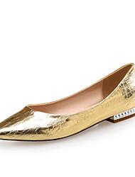 Damen-Flache Schuhe-Büro Kleid Lässig Party & Festivität-Leder PU-Flacher Absatz-Komfort Neuheit-Silber Gold