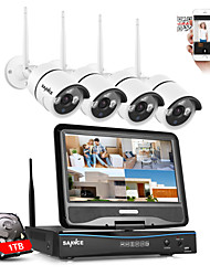 sannce® 2.4g 10.1 LCD 4CH hd 720p nvr wireless 1500TVL in / outdoor telecamere IP ir taglio con 1tb