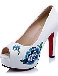 cheap -Women's Shoes Microfibre Spring Summer Fall Embroidered Shoes Heels Stiletto Heel Peep Toe Flower For Office & Career Dress Party &