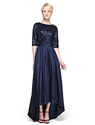 cheap -A-Line Jewel Neck Asymmetrical Taffeta Sequined Bridesmaid Dress with Bow(s) Sequins by LAN TING BRIDE®