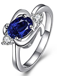 Ring AAA Cubic Zirconia Zircon Cubic Zirconia Copper Silver Plated Glass Fashion Blue Golden Jewelry Daily Casual 1pc