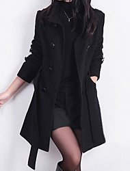 cheap -Women's Work Street chic Wool Trench Coat-Solid Colored Stand