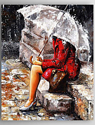 Hand-Painted  a Girl With a Umbrella  Canvas Oil Painting With Stretcher For Home Decoration Ready to Hang
