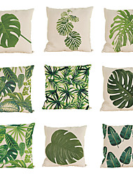 "cheap -Set of 9    Tropical Pillow Case Green Leaf Plant Square Bedroom Home Decorative (18""*18"")"