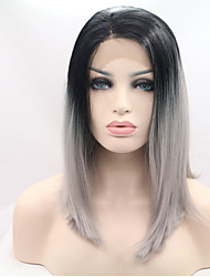 Ombre Grey  Color Synthetic Lace Front Wigs Wave Fashion Daily Popular Synthetic Lace Front Wig High Quality Cheap