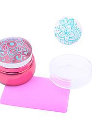 1pc nail art as novas peças de metal vermelho transparente a impressão do selo rosa raspador