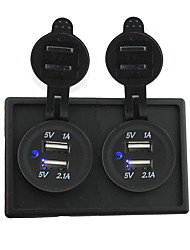 12V/24V 2PCS 3.1A USB power socket with housing holder panel for car boat truck RV
