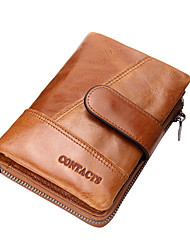 cheap -Men's Bags Cowhide Bi-fold Wallet for Shopping Casual Sports Office & Career Outdoor All Seasons Coffee Brown