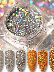 cheap -3g Holo Gold Silver Glitter Powder Laser Paillette Nail Dust Powder Manicure Nail Art Sequins Decorations