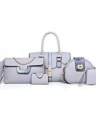 Donna Sacchetti Per tutte le stagioni PU (Poliuretano) sacchetto regola Set di borsa da 6 pezzi Borchie per Formale Nero Grigio Marrone