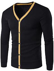 Herren Standard Strickjacke-Lässig/Alltäglich Einfach Solide Blau Schwarz Grau Gelb V-Ausschnitt Langarm Baumwolle Frühling Mittel