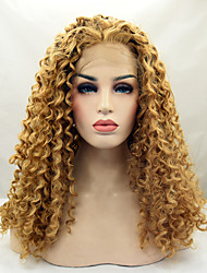 Blonde Color Synthetic Lace Front Wigs Kinky Curly Hair Heat Resistant Synthetic Fiber Hair Wig