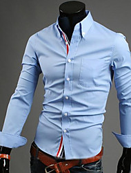 cheap -Men's Business Casual Plus Size Cotton Shirt - Solid Colored Button Down Collar
