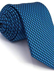 cheap -BXL25 Mens Neckties Blue Solid 100% Silk Business New Fashion Wedding Dress For Men