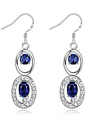 cheap -Drop Earrings Crystal AAA Cubic Zirconia Zircon Cubic Zirconia Copper Silver Plated Glass Silver Purple Red Blue Jewelry Daily Casual1