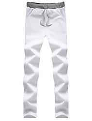 abordables -Hombre Casual Tradicional Tiro Medio Microelástico Corte Recto Delgado Chinos Pantalones de Deporte Pantalones, Un Color Primavera Verano