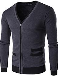 Herren Standard Strickjacke-Lässig/Alltäglich Einfach Solide Schwarz Grau V-Ausschnitt Langarm Baumwolle Frühling Mittel Mikro-elastisch