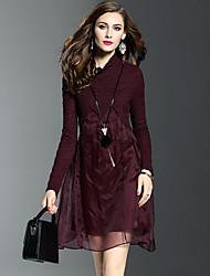Feminino balanço Vestido, Para Noite Moda de Rua Sólido Retalhos Gola Alta Acima do Joelho Manga Longa Vermelho Preto Poliéster Primavera