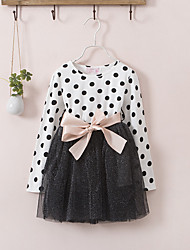 cheap -Girl's Polka Dot Patchwork Dress,Cotton Polyester Spring Fall Long Sleeve Dot Lace White Black