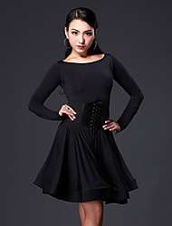 cheap -Latin Dance Dresses Women's Performance Viscose Ruffles Long Sleeves Dress