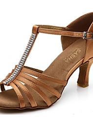 Women's Dance Shoes Satin Satin Latin Heels Flared Heel Practice Beginner Indoor Outdoor Performance Black Brown Customizable