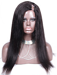 Corase Yaki Straight U Part Wigs Brazilian Hair 20Inch 130% Density Natural Color 1*4 Left Side Part Upart Wig