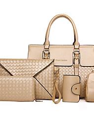 Donna Sacchetti Per tutte le stagioni PU (Poliuretano) sacchetto regola Set di borse da 5 pezzi Borchie Ciondoli/gioielli per Formale Blu