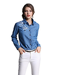 cheap -Women's Daily Work Chinoiserie Spring Summer Shirt,Embroidered Shirt Collar Long Sleeves Cotton Medium