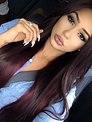 Dark Wine Color Peruvian Vrgin Hair Full Lace Wigs Straight Hair 130% Density Unprocessd Human Virgin Hair Lace Wigs
