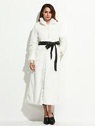 Женский Большие размеры Однотонный Пальто с мехом Воротник-стойка,Простое Зима Белый / Черный Длинный рукав,Лисий Мех,Средняя