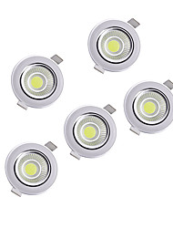 cheap -5pcs 5w COB 220-240V Warm White Natural White LED Down Light Recessed Ceiling
