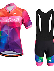 cheap -Miloto Cycling Jersey with Bib Shorts Women's Short Sleeves Bike Bib Shorts Jersey Bib Tights Shorts Shirt Sweatshirt Top Quick Dry