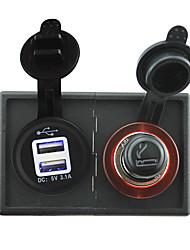 cheap -12V/24V Cigarette lighter adapter and 3.1A USB power socket with housing holder panel for car boat truck RV
