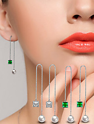 cheap -AAA Cubic Zirconia Drop Earrings Ball Earrings Jewelry Wedding Party Alloy Cubic Zirconia Silver Plated 1 pair Silve Emerald  Green