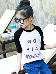 Girl's Han Edition Fashion Leisure Spring/Autumn Round Collar Letters Splicing Render Unlined Upper Garment Of A T-Shirt