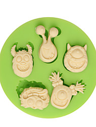 5 Happy Cartoon Heads Silicone Decoration Mold DIY Kitchen Fondant Baking Mould Cake Tools Color Random