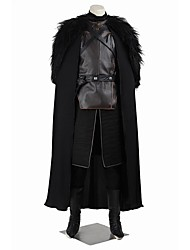 abordables -Game of Thrones Jon Snow Costume de Cosplay Bal Masqué Costume de Soirée Pour Halloween Cosplay de Film Noir Gilet Haut Pantalon Gants