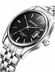 cheap -Men's Quartz Wrist Watch Calendar / date / day Stainless Steel Band Casual Fashion Cool Silver