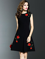 cheap -Women's Plus Size Going out Sophisticated Cotton A Line Dress - Embroidered Ruched