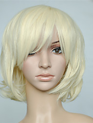 cheap -Synthetic Wig Curly / Wavy Blonde With Bangs Synthetic Hair With Bangs Blonde Wig Women's Capless