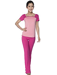 cheap -Women's Yoga Pants With Top Sports Modal Clothing Suit Running, Fitness, Gym Short Sleeve Activewear Breathable, Comfortable Stretchy