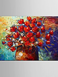 Hand Painted Canvas Oil Painting thick Red Flowers Painting Wall Art with Stretched Framed Ready to Hang