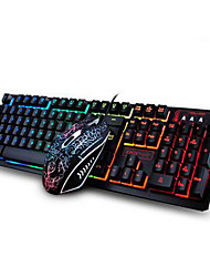 cheap -Ergonomic Gaming Keyboard Multimedia Keyboard USB Multi Color Backlit Gaming 2400DPI Mouse Set