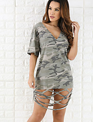 cheap -Women's Going out / Club Street chic Loose Dress - Camouflage Cut Out Mini V Neck