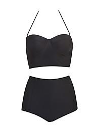 Women's High Waist Halter Bikinis,High Rise Underwire Bra Polyester Black