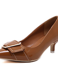 cheap -Women's Heels Comfort Leatherette Spring Summer Casual Dress Walking Comfort Buckle Kitten Heel Brown Black 1in-1 3/4in