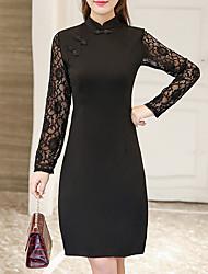 preiswerte -Damen Bodycon Kleid-Lässig/Alltäglich Formal Übergröße Einfach Niedlich Chinoiserie Solide Rundhalsausschnitt Midi Langarm Rot Schwarz