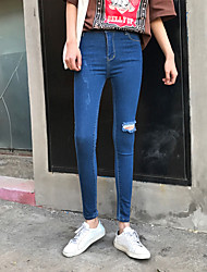 Sign hole jeans female 2017 spring new pencil pants